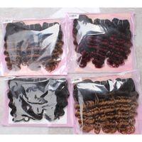 Wholesale human hair bob weaves for sale - Kiss Hair Ombre Deep Wave Unprocessed Virgin Human Hair Weave Short Bob Style G Brazilian Body Wave Ombre Hair