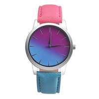 Wholesale Blue Rainbow Design - Wholesale-bayan kol saat Women Watch Quartz Wrist Watch Retro Rainbow Design Casual Leather Band Ladies Bracelet Watches reloj mujer 2017