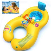 anillo de baño blanco al por mayor-Blanco Amarillo Azul Seguro Suave Inflable MotherBaby Swim Float Ring Niños Asiento Doble Persona Piscina Envío Gratis