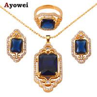 königliche blaue halskettenohrringe großhandel-Königliche Marke Goldton Blue Zircon Kristallschmuckset Ohrringe Halskette Ring sz # 6.5 # 8 # 7 # 9 Fashion Jewelry JS225A