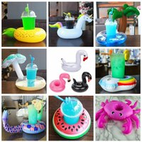 Wholesale boat cup holders - Animals Inflatable Cup Holder Drink Floating Party Beverage Boats Pool Beach Stand Inflatable Drink Holder Unicorn Flamingo AAA134