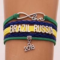 regalos de brasil al por mayor-The World Cup Gifts Infinity Love BRASIL RUSIA Pulsera 2018 Soccer Charm Leather Wrap Deporte Pulseras Brazaletes