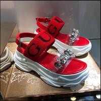 ingrosso sandali con cintura nera-Ins marchio cintura calda logo donne sandali estivi famoso marchio di lusso scarpe di marca rosso bianco nero donna sandali da spiaggia