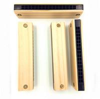 couleur harmonica achat en gros de-Harmonica pour enfants 16 trous sur deux rangées d'harmonica en bois clair, en bois, couleur, intelligence primaire, jouets pour bébés
