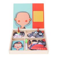 placa de brinquedo magnética venda por atacado-Bebê De Madeira Placa De Puzzle Magnético Brinquedo Crianças Dress Up Jogos Primeiros Educacionais Jigsaw Puzzles Crianças Presentes de Aniversário Engraçado