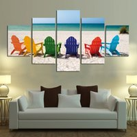 Wholesale colorful modern oil paintings resale online - Colorful Chairs and Beaches Pieces Home Decor HD Print Modern Art Canvas Unframed Framed