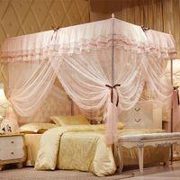 reina de cama rosa al por mayor-Rosa amarillo azul de tres puertas Princess Mosquito Net cama doble cortinas cortina de dormir cama Canopy Net Full Queen King Size