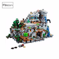 Wholesale Mountain Building - Mailackers 18032 Miniecraft The Mountain Cave 2932 Pcs My World Model Building Blocks Toys for Children Compatible 21137 Legoing