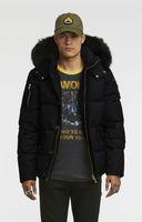 ingrosso giubbotto nero rivestimento volpe-Piumini invernali uomo freddo 3/4 Giacca 3Q con cappuccio con collo in pelliccia di volpe bianca o nera