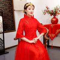 vestido formal vermelho estilo chinês venda por atacado-Red Tradicional Show de noiva Bordado cheongsam casado ternos estilo chinês de casamento vestido formal feminino Qipao Chinês Overseas