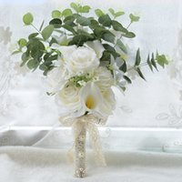ingrosso fiore bianco mini calla giglio-2018 Boho Bridal Wedding Flowers Mini Rose Bridesmaid Bouquet Real Touch White Calla Lily Flowers Bridal Wedding Bouquet mariage