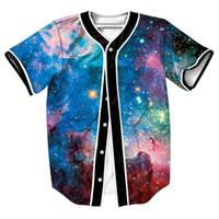 galaxy print camisetas para homens venda por atacado-Atacado Frete Grátis 3D Baseball Jersey Espaço Digital Galaxy Impressão Homens T Camisa Ocasional Hip Hop Camiseta