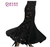 rosa roja única al por mayor-¡¡Nuevo!! Adult Women Ballroom Waltz Tango Dance Falda larga Full Rose Diseño muy exclusivo Negro y rojo