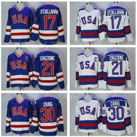 olimpik hokey mayo xxl toptan satış-1980 ABD Hokey Forması Takımı 30 Jim Craig Formaları 21 Mike Eruzione 17 Jack O'Callahan Callahan Olimpiyatları Üzerine Mavi Beyaz Yıl Mucizesi Dikişli