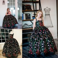 Wholesale Fantasy Embroidery - Black Fantasy Flower Girl Dress Colorful Flower Embroidery Sleeveless Princess Ball Gown Birthday Dresses Glamorous Girls Pageant Dresses