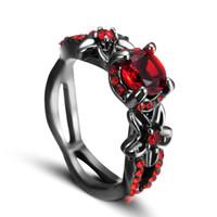 kırmızı zirkon nişan yüzüğü toptan satış-Kırmızı Zirkon Siyah Altın lady Yüzük Zirkon Nişan Çiçek Toplama Halka Ücretsiz Kargo