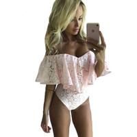 ingrosso le camicette del corpo-New Fashion 2018 Ruffle Off spalla camicetta Suit estate pizzo floreale Casual Blusas Body Shirt donna Tuta Sexy Beach Camicette