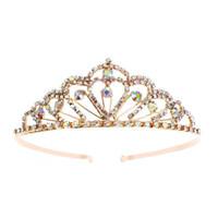 Wholesale bridal golden crown - Colorful Rhinestones Tiara Crown Comb Diamond Princess Tiara Bridal Wedding Headpiece(Golden)