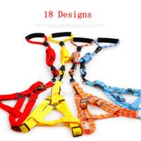 Wholesale nylon dog collar large online - 18 Designs Pet Dog Collar Harness Leash Set Adjustable Nylon Pet Traction Cat Kitten Halter Collar Cats Harness Belt AAA908