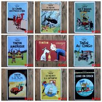 Wholesale Souvenir Angels - The Adventures Of Tintin Tin Signs Le Crabe Aux Pinces Dor 20*30cm Tin Poster For KTV Wall Decor Iron Paintings 3 99ljE B