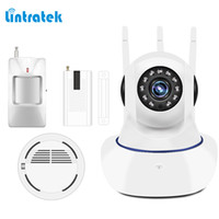 Wholesale Wireless Smoke Detector Cameras - lintratek 433mhz Alarm System Kits Security with Infrared Alarm Detector Smoke Detector Window Door Sensor IP Security Camera
