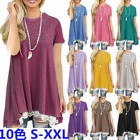 Wholesale laces clothes china resale online - Women T Shirt Summer Short Sleeve T Shirt Plus Size Loose Women Tops Lace XXL Tshirt Cheap China Clothing Colors