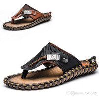 5e26c052847ed8 First layer cowhide handmade men s sandals and slippers Summer beach  slippers men s cross-border large size flip-flops  bn160