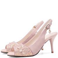 sapatos de diamante rosa sapatos de salto alto venda por atacado-Atacado Rosa Moda Sexy Peep Toe Sandálias Preta Branco Partido Bola Bombas Pérola Do Dedo Do Pé Aberto Diamantes Sapatos de Salto Alto 2018