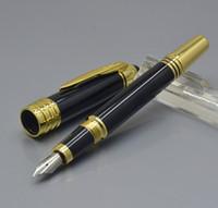 clips mtb al por mayor-Nuevo gran John F. Kennedy Resina negra y clip de oro Pluma estilográfica JFK Marca papelería de oficina Marcas de MTB escribir bolígrafos con Serial Nunber
