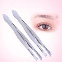 Wholesale cosmetics eyebrow tweezers resale online - Stainless steel Bevel eyebrow clip cosmetic makeup tools eyebrow tweezers