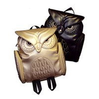 Wholesale owl leather bag for sale - Group buy New Fashion Women Backpack Newest Stylish Cool Black PU Leather Owl Backpack Female Hot Sale Women shoulder bag school bags