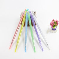 Wholesale see umbrella resale online - Clear EVC Umbrella Long Handle Rain Sun Umbrella See Through Colorful Umbrella Rainproof Wedding Photo BBA353