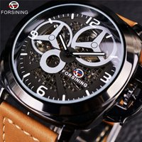 ingrosso orologio militare completo automatico-Forsining Full Black Skeleton Case Windmill Designer Brown Suede Strap Men Watch Top Luxury Luxury Military Sport Watch