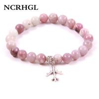 воздушные браслеты оптовых-NCRHGL 2018 Trendy Purple Clove AIRPLANE Charm Beaded Bracelet  Natural Stone Bracelets In Natural Jewelry For Women Men