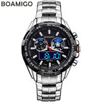reloj de la marca boamigo al por mayor-BOAMIGO marca hombres relojes deportivos analógico digital doble pantalla LED relojes de cuarzo relojes de pulsera de acero a prueba de agua relogio masculino