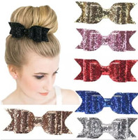 Wholesale hair bows for women - Bow hair clips Barrettes Kids Hair Accessories spring clips shining powder Bows for kids women European Hotsale cheap 7 colors B11