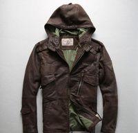 chaqueta de cuero marrón hombres venta al por mayor-Venta caliente marrón oscuro AVIREXFLY chaqueta de cuero de piel de oveja para hombres chaquetas locomotoras slim fit con capucha