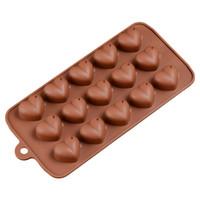 pasta için kalp kalıpları toptan satış-1 adet 15 Delik Kalp Şekli Çikolata Kalıpları DIY Silikon Kek Dekorasyon Jöle Buz Aşk Hediye Çikolata Kalıpları Pişirme Araçları