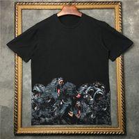 Wholesale monkey top - 2017 summer men Luxury brand clothing monkey brother Rottweiler 3D t-shirt women short sleeve T Shirt Men Designer T-Shirts cotton tee tops