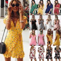Wholesale womens dresses online - night club dresses Womens Floral Clubwear Wrap Dress Ladies Deep V neck Ruffles Beach Mini Dress UK