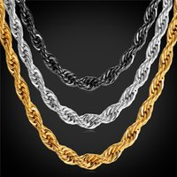 Wholesale Golden Statement - U7 Statement Rope Chain Necklace Bracelet 9MM Men Jewelry 18K Gold Plated Stainless Steel African Ethiopian Jewelry Set Accessories GN2179
