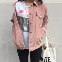Wholesale college denim jacket resale online - Women Short Design College Wind Loose Causal Solid Corduroy Long Sleeve Female Denim Basic Jackets Outerwear Coat