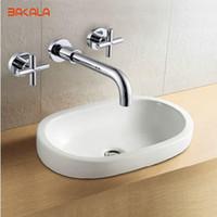 Wholesale Bath Taps Wall Mounted - BAKALA Brass Mixer Basin Tap Bath Tub Sink mixer Chrome Finish Square Basin Tap In wall Faucet Bathroom LT-318
