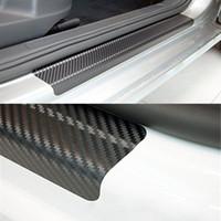 углеродное волокно porsche оптовых-Универсальный 4 шт. / компл. двери автомобиля пластины порога потертости обложка защиты против царапин углеродного волокна авто дверная пластина стикер со скребком стайлинга автомобилей