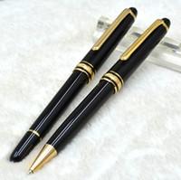 ingrosso penna 163-Prezzo all'ingrosso di lusso Meisterstcek # 163 resina nera penna a sfera / penna a sfera con numero di serie cancelleria per ufficio uomini penne a sfera regalo
