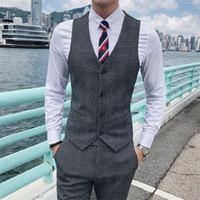 costume homme gris foncé achat en gros de-Costume à carreaux rayé Pure Color hommes gilets gris foncé kaki mince hommes élégants d'affaires décontractée gilet taille S-3XL