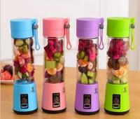Wholesale plastic eco cup - 380ml Personal Blender Portable Mini Blender USB Juicer Cup Electric Juicer Bottle Fruit Vegetable Tools DDA90