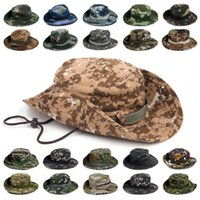 Wholesale orange bucket hats - Outdoor Sports Fishing Hat Camouflage Bucket Hat Fisherman Camo Jungle Bush Hats Boonie UV Protection Wide Brim Sun Caps Ripstop