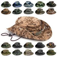 ingrosso cappelli della giungla-Sport all'aria aperta Cappello da pesca Camouflage Cappello a secchiello Pescatore Camo Jungle Bush Cappelli Boonie Protezione UV Ampio Bordo a tesa Cappellini Ripstop