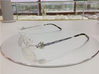 óculos de designer de titânio sem aro venda por atacado-Mulheres de luxo sem aro titanium armação de óculos com strass óculos para mulheres miopia designer de marca vintage óculos de armação clara lente
